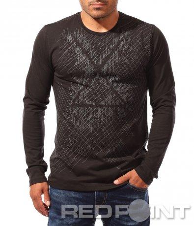 Семпла черна тениска с дълъг ръкав 8320