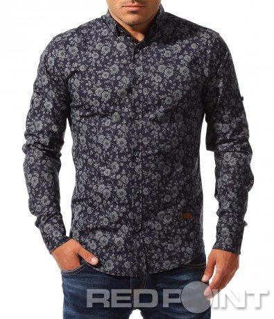 Интересна тъмно синя риза 8336