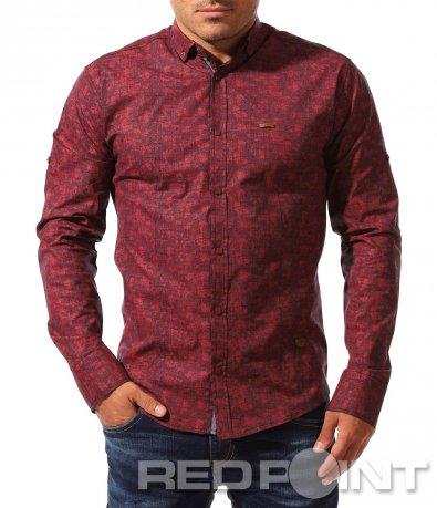 Интересна риза в цвят  бордо 8337