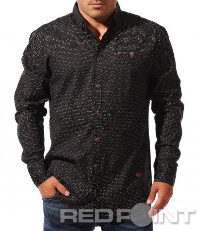 Тъмна спортно-елегантна риза 8339