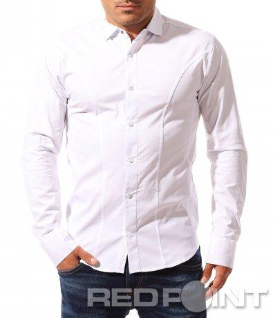 Еднотонна риза с капси 8327