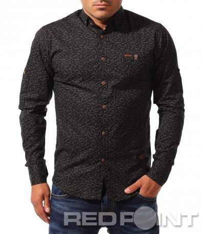 Черна вталена риза с принт 8332