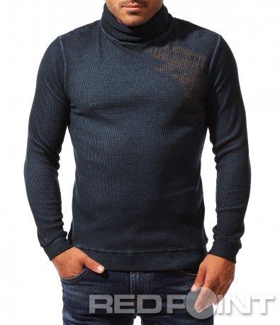 Вталена есенна плуза тип поло 8347