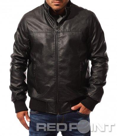 Черно кожено яке с ластик 8306