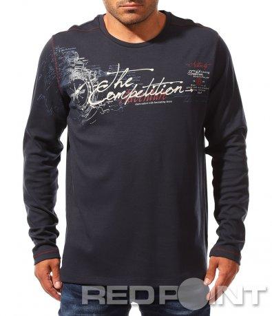 Тъмно синя тениска с дълъг ръкав 8350