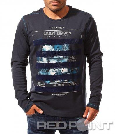 Тъмно синя памучна блуза 8351