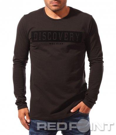 Черна изчистена блуза с надпис 8352