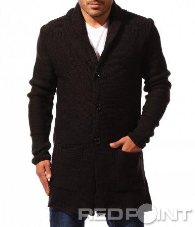 Черна жилетка тип палто 8374