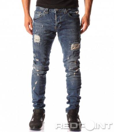 Силно накъсани сини дънки 8379