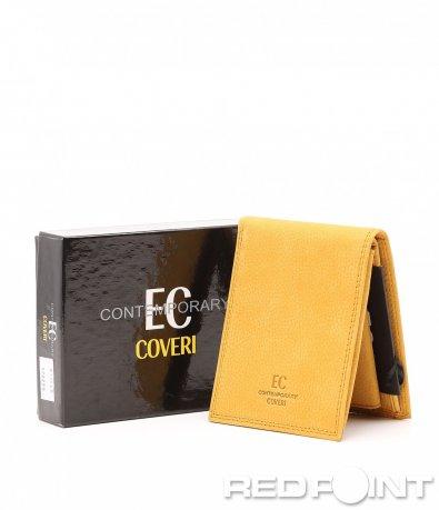 Жълт кожен портфейл 8279