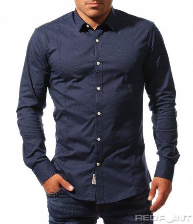 Тъмно синя вталена риза 8403