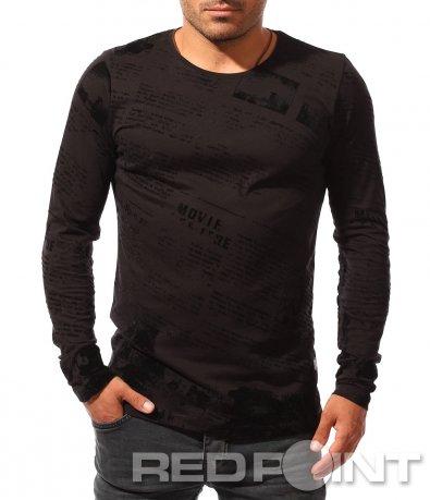 Черна блуза със семпла апликация 8447