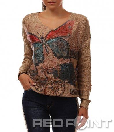 Кафява блуза със  свободна кройка 8467