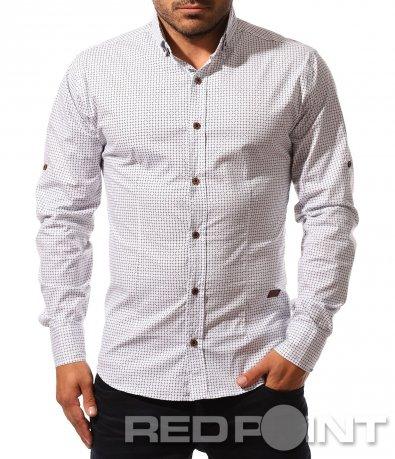 Бяла риза с интересен десен 8554