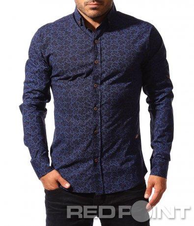 Тъмно синя риза с vintage принт 8557