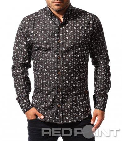 Черна риза с бели елементи 8560