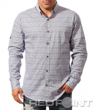 Вталена риза с тъмни оранемтни 8582