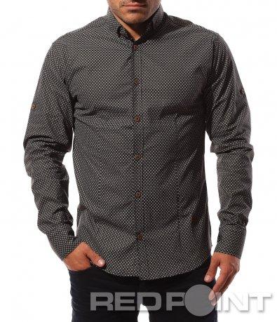 Черна риза с кръгли декорации 8583