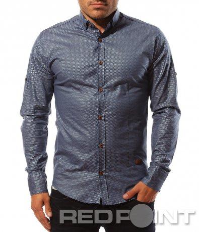 Синя риза с лек сатенен ефект 8585
