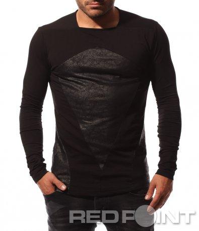 Черна тениска с дълъг ръкав 8711