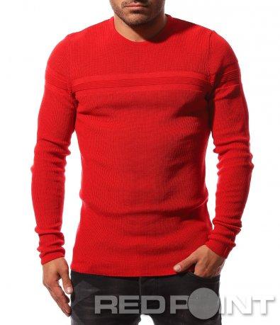 Ярък пуловер с акцент 8738