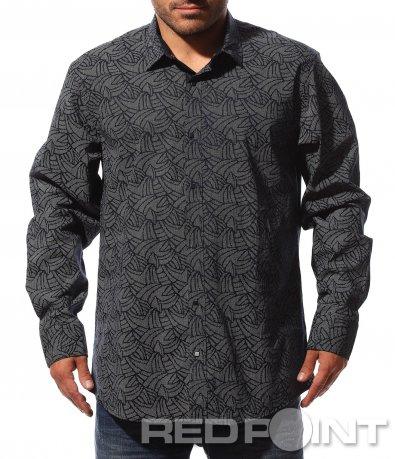 Тъмно сива риза с интересен принт 8745
