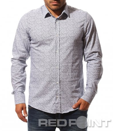 Изключителна бяла риза с принт 8748
