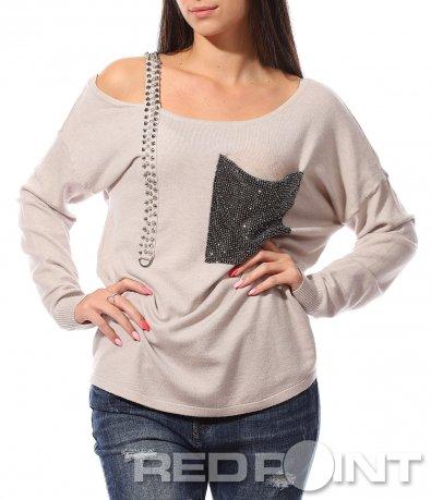 Разчупена блуза с презрамка 8765
