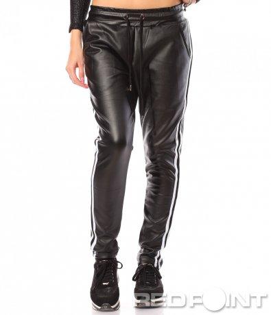 Черен кожен панталон 8766