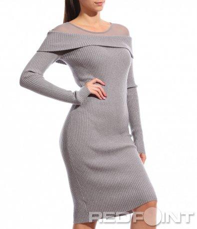 Сребриста рокля с дантела 8767