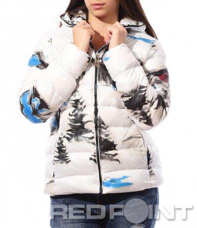 Зимно бяло яке с качулка 8768