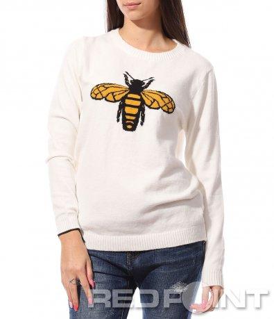 Бяла блуза с пчела 8769