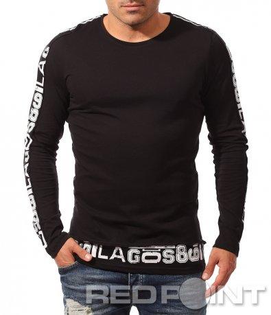 Изчистена черна блуза с акцент 8806