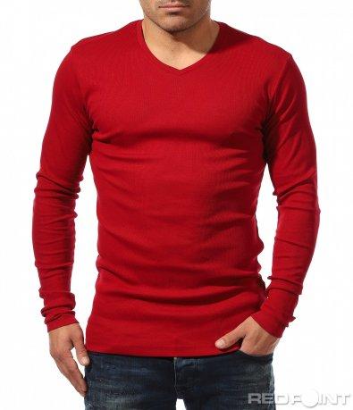Едноцветна блуза с бод деколте 8862