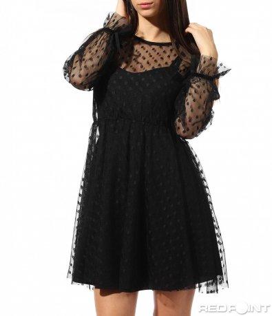 Черна рокля с точки 8878
