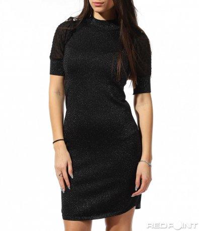 Вталена черна рокля 8883