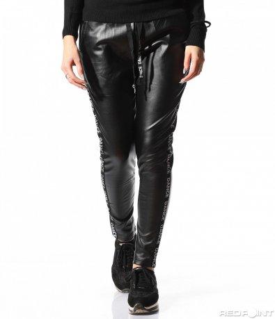 Кожен черен панталон 8886