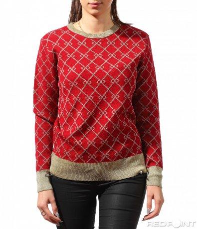 Червен вълнен пуловер 8887