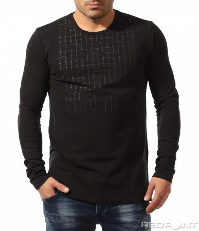 Черна блуза с декорация 8353