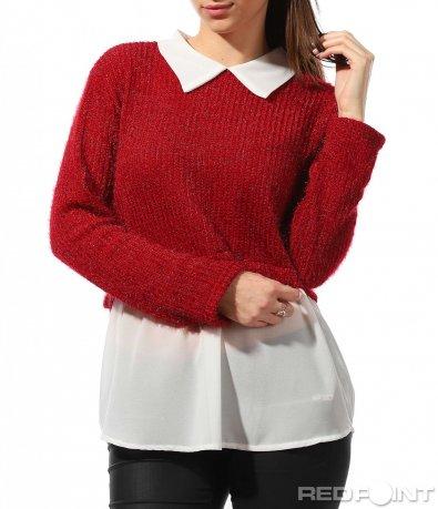Червена  блуза с яка  8888