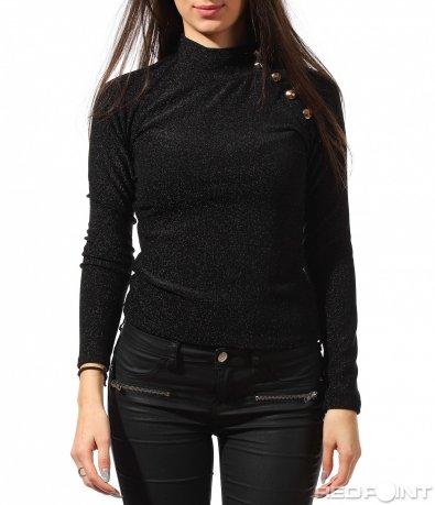 Черна втална блуза 8889