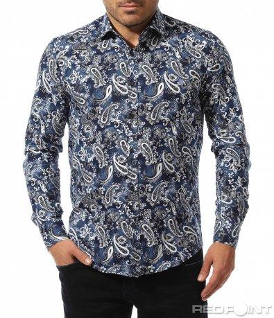 Вталена риза с цветен десен 8916