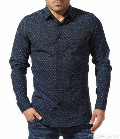 Тъмно синя елегантна риза 8921