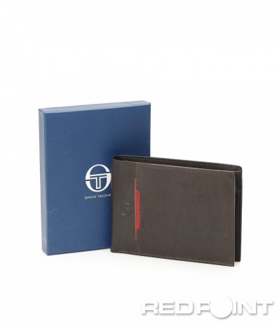 Кожен портфейл с червен акцент 8952