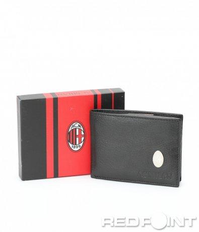 Черен кожен портфейл с лого 8966
