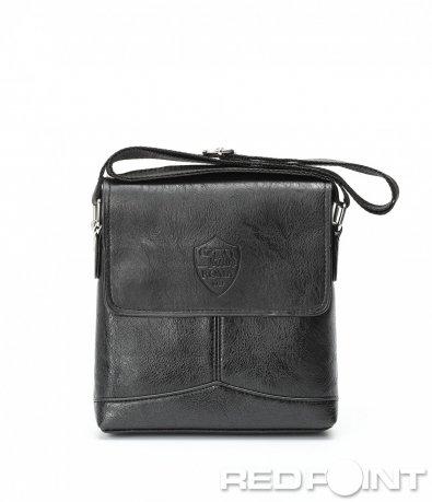 Елегантна кожена чанта с лого 8975