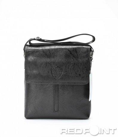 Класическа черна кожена чанта 8978