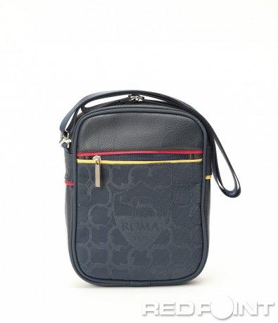 Синя кожена чанта Roma 8990