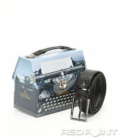 Черен класически колан с кутия 9026