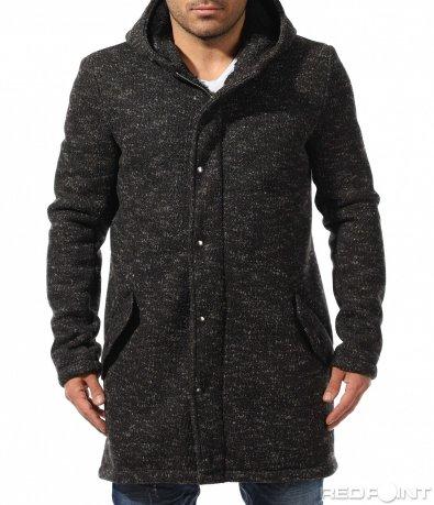Екстравагантно черно палто 9033